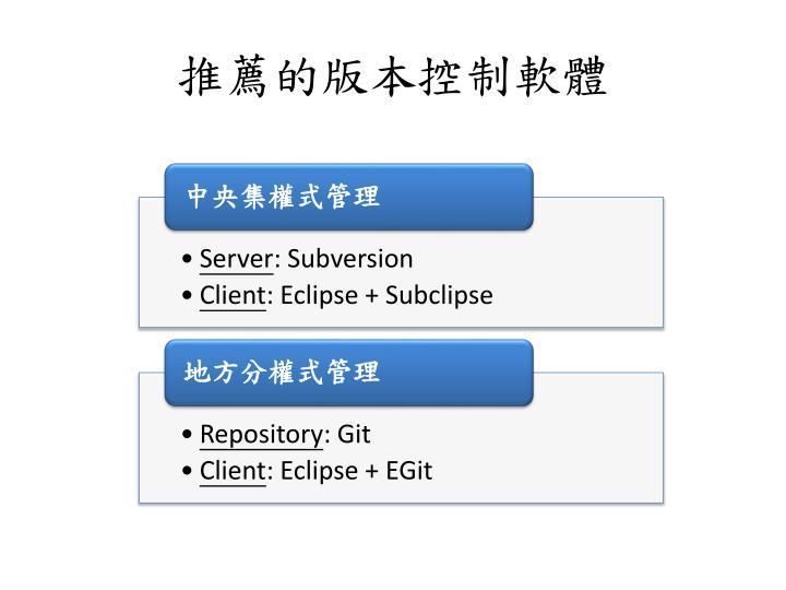 推薦的版本控制軟體