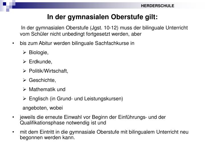 In der gymnasialen Oberstufe gilt: