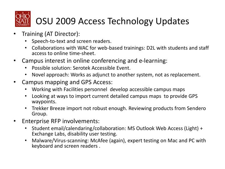 Osu 2009 access technology updates
