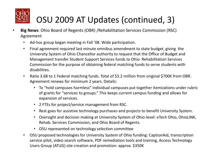 OSU 2009 AT Updates (continued, 3)