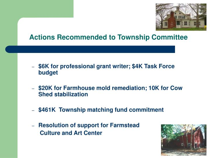 Actions Recommended to Township Committee