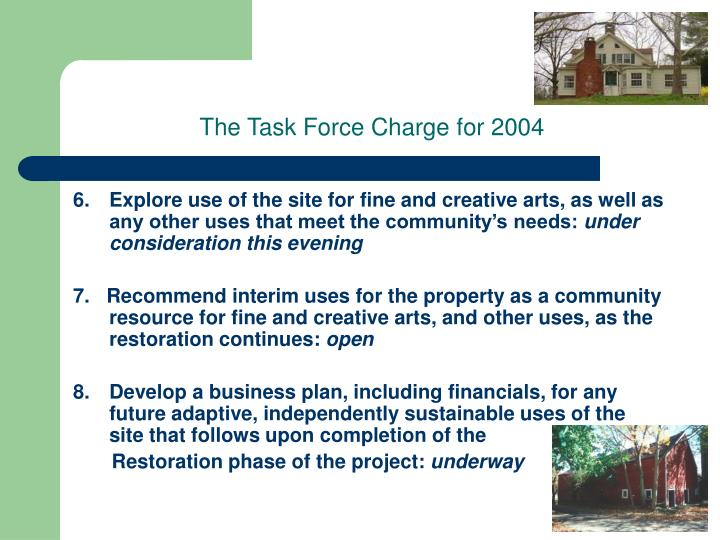 The Task Force Charge for 2004