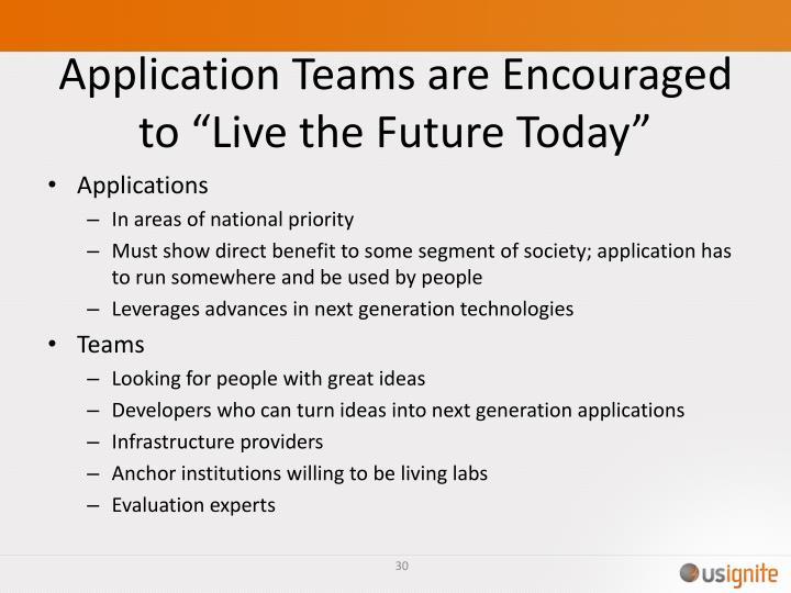 Application Teams are Encouraged