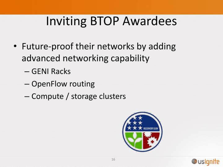Inviting BTOP Awardees