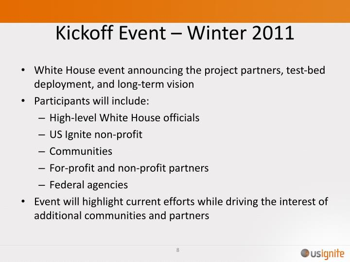 Kickoff Event – Winter 2011