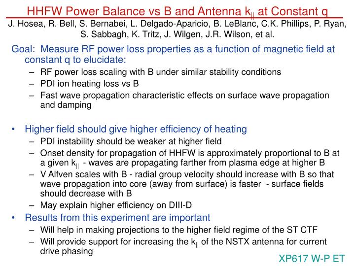 HHFW Power Balance vs B and Antenna k