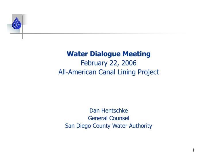 Water Dialogue Meeting