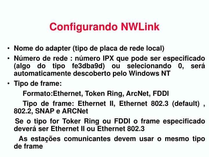 Configurando NWLink