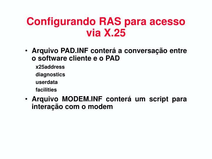 Configurando RAS para acesso via X.25