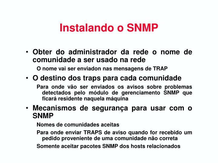 Instalando o SNMP