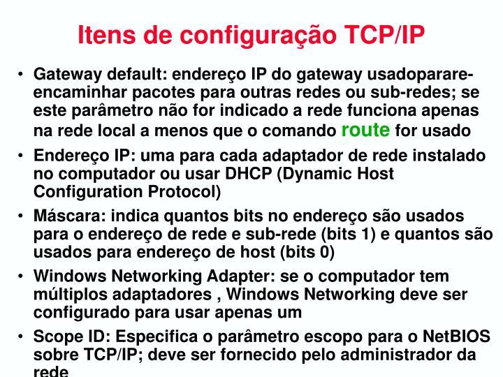 Itens de configuração TCP/IP