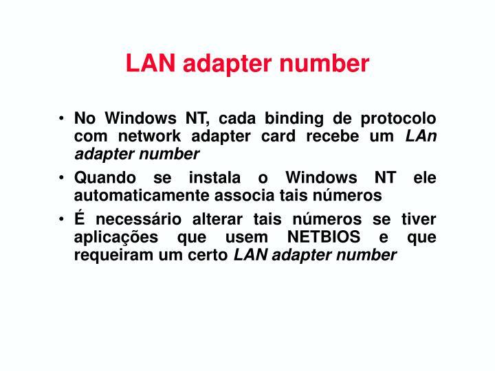 LAN adapter number