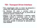 tdi transport driver interface