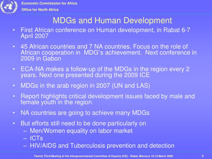 First African conference on Human development, in Rabat 6-7 April 2007