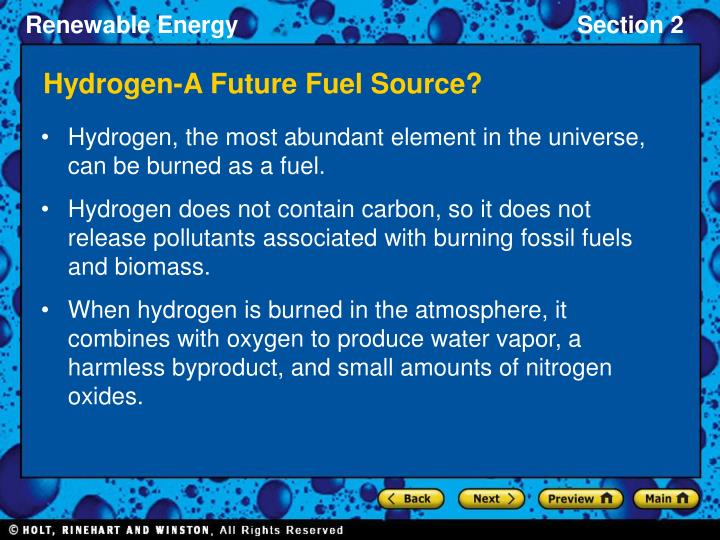 Hydrogen-A Future Fuel Source?