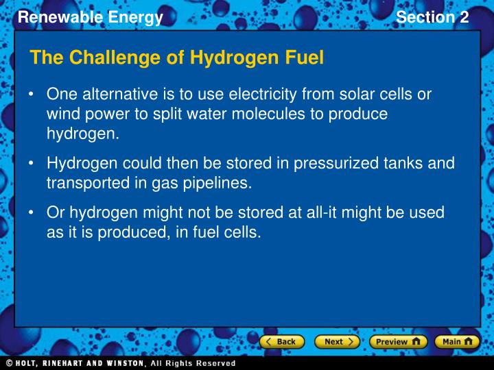 The Challenge of Hydrogen Fuel