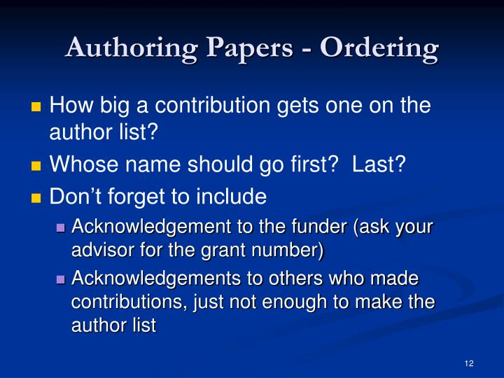 Authoring Papers - Ordering