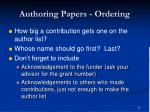 authoring papers ordering