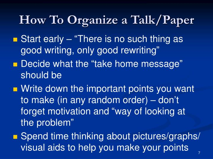 How To Organize a Talk/Paper