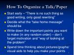 how to organize a talk paper