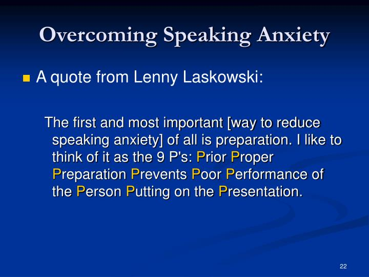 Overcoming Speaking Anxiety
