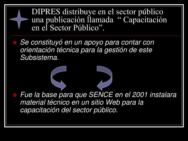 """DIPRES distribuye en el sector público una publicación llamada  """" Capacitación en el Sector Público""""."""