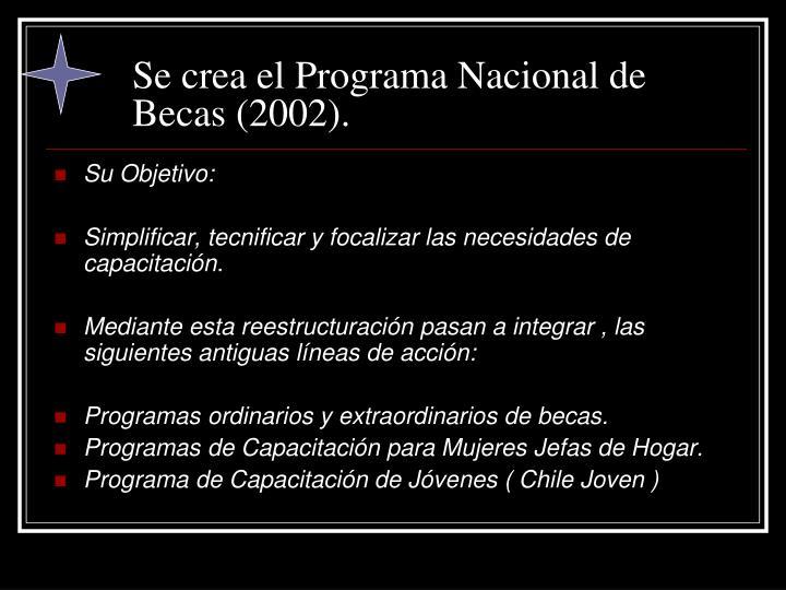 Se crea el Programa Nacional de Becas (2002).