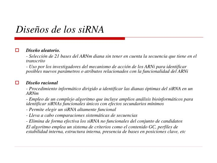 Diseños de los siRNA