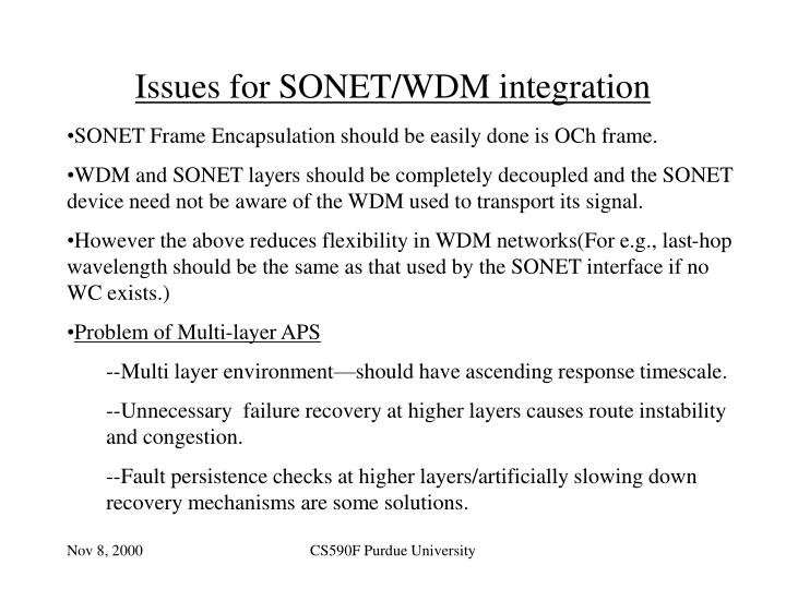 Issues for SONET/WDM integration