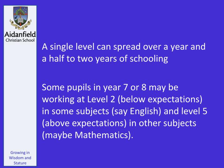 A single level can spread over a year and a half to two years of schooling