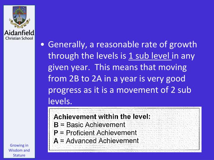 Generally, a reasonable rate of growth through the levels is