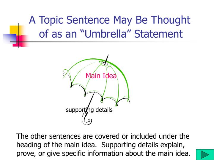 A Topic Sentence May Be Thought