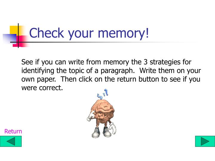 Check your memory!