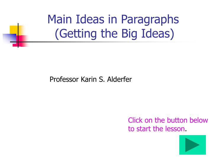 Main Ideas in Paragraphs