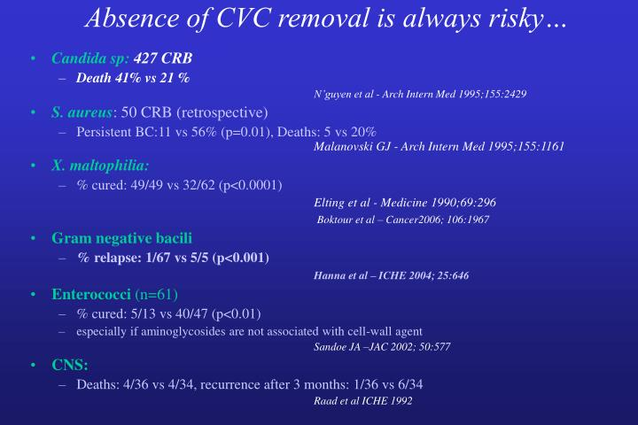 Absence of CVC removal is always risky…