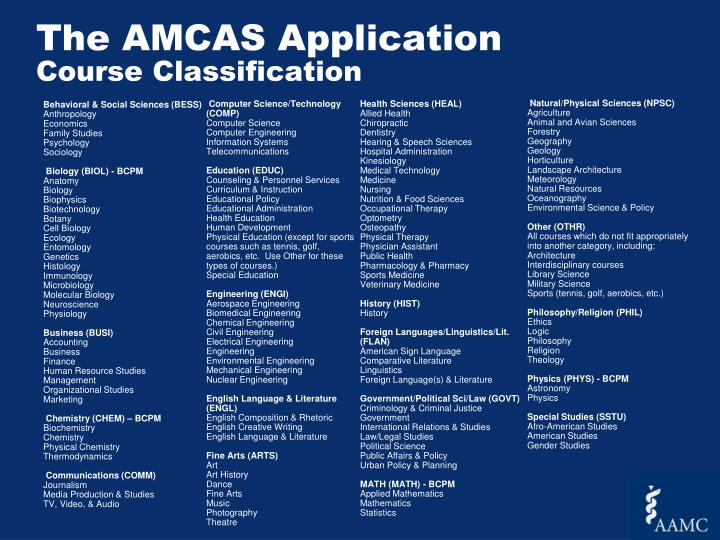The AMCAS Application