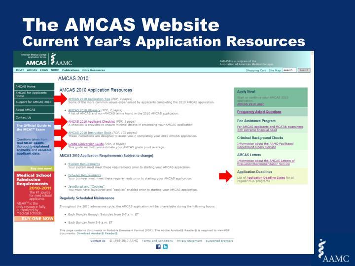 The AMCAS Website