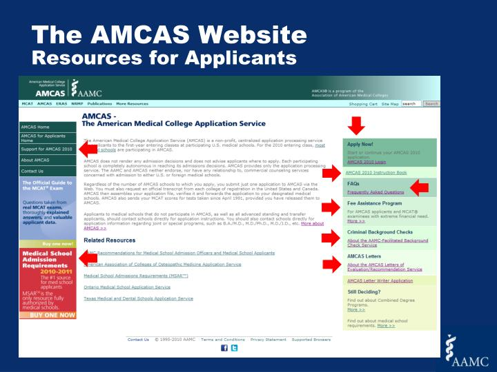The AMCAS Website