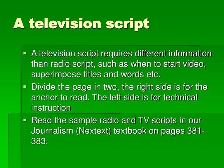 A television script