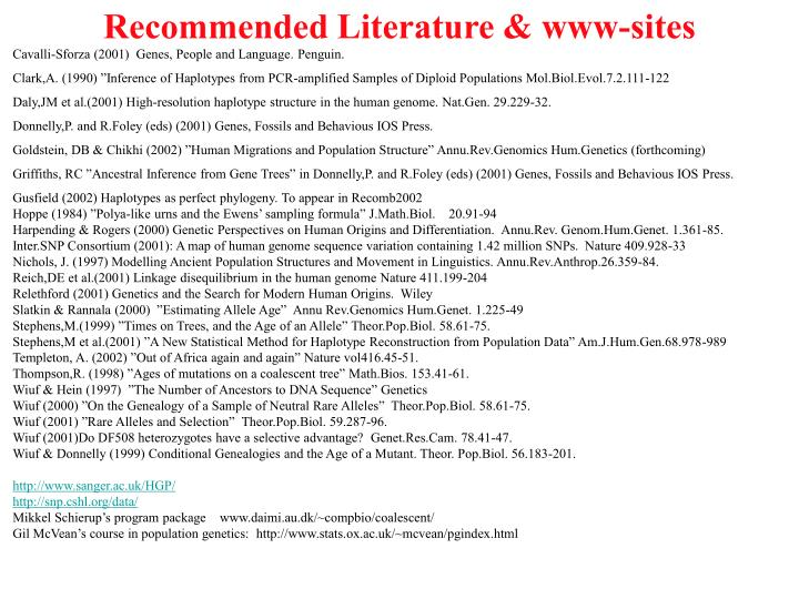 Recommended Literature & www-sites