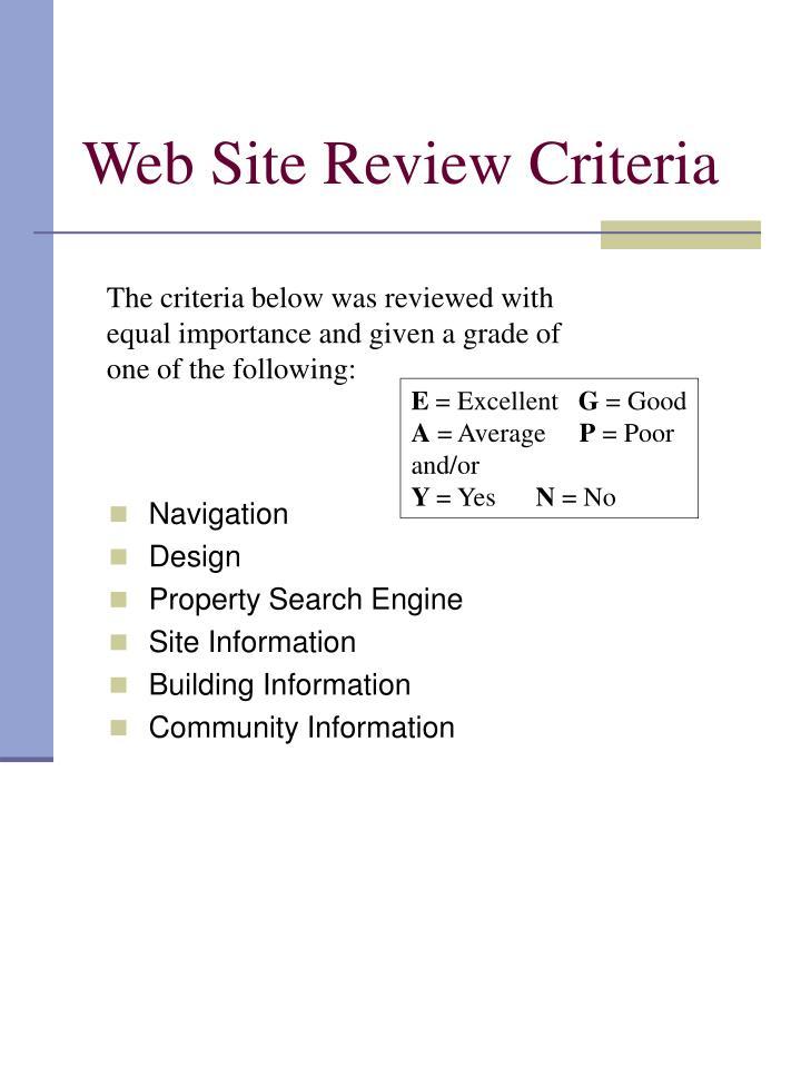 Web Site Review Criteria