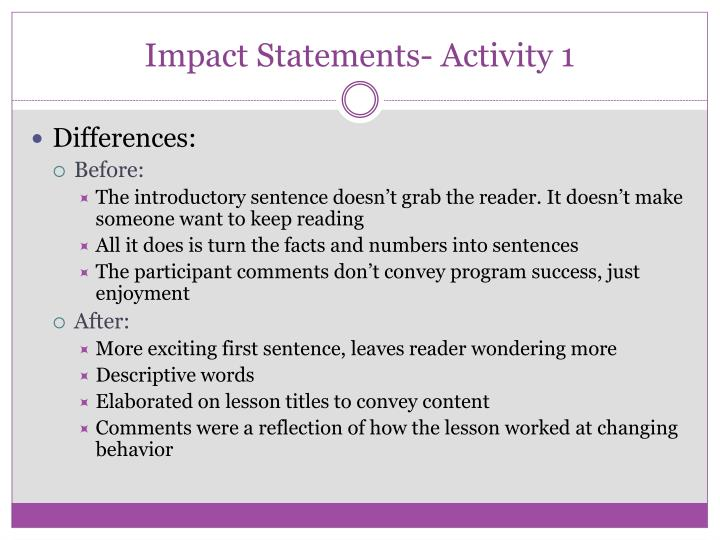 Impact Statements- Activity 1