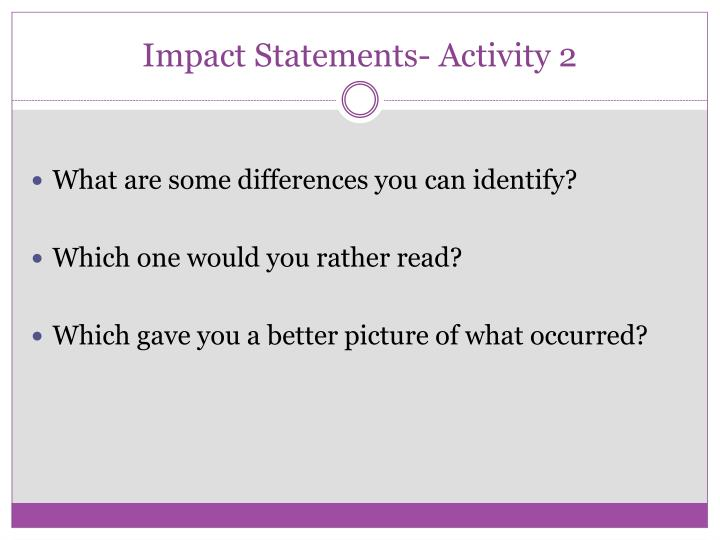 Impact Statements- Activity 2