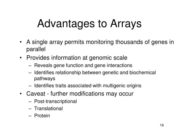 Advantages to Arrays
