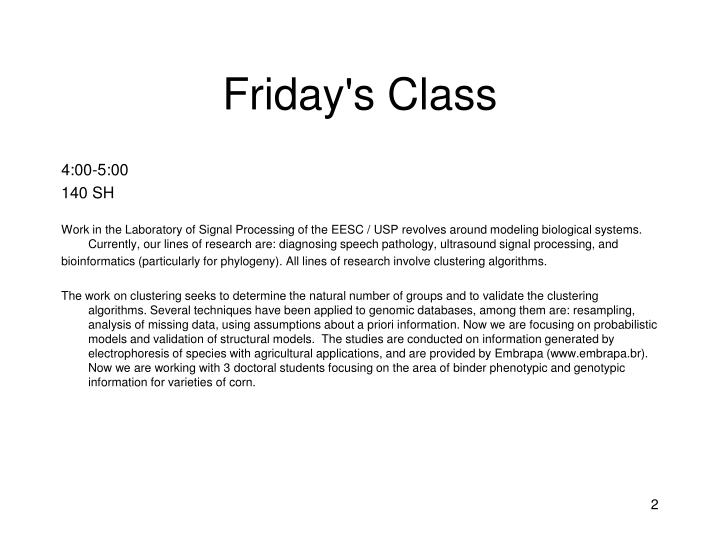 Friday s class