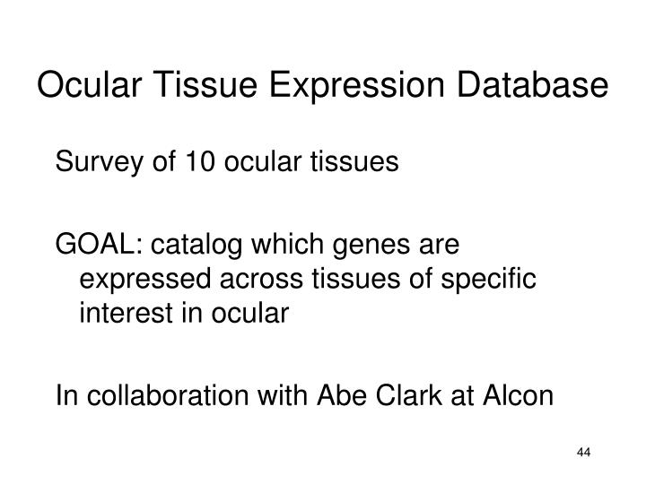 Ocular Tissue Expression Database