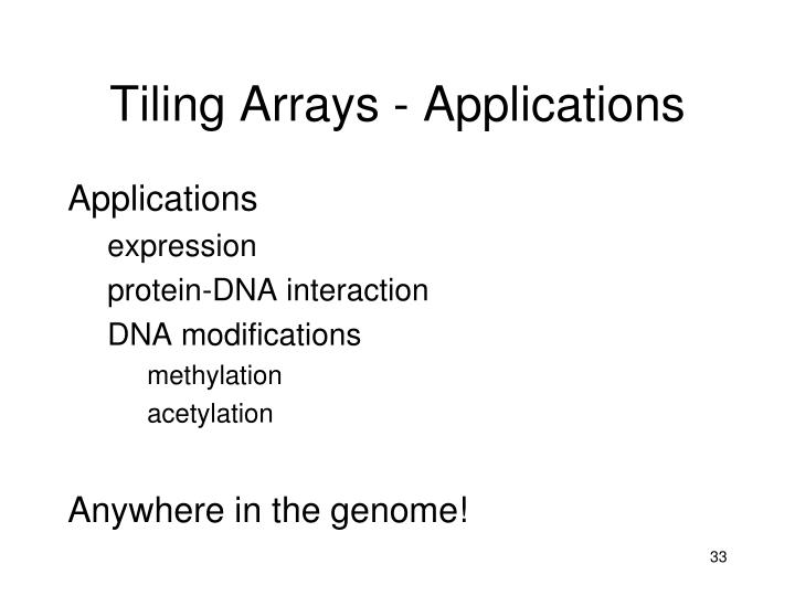 Tiling Arrays - Applications