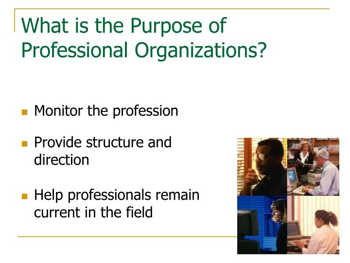 What is the purpose of professional organizations