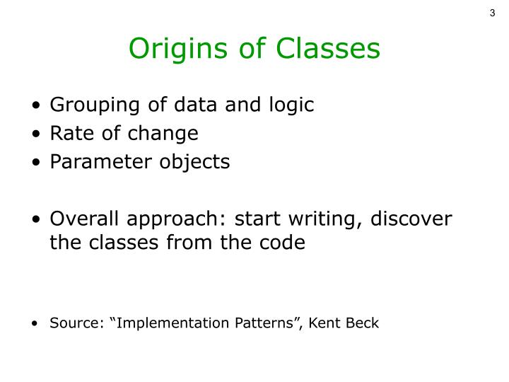 Origins of Classes