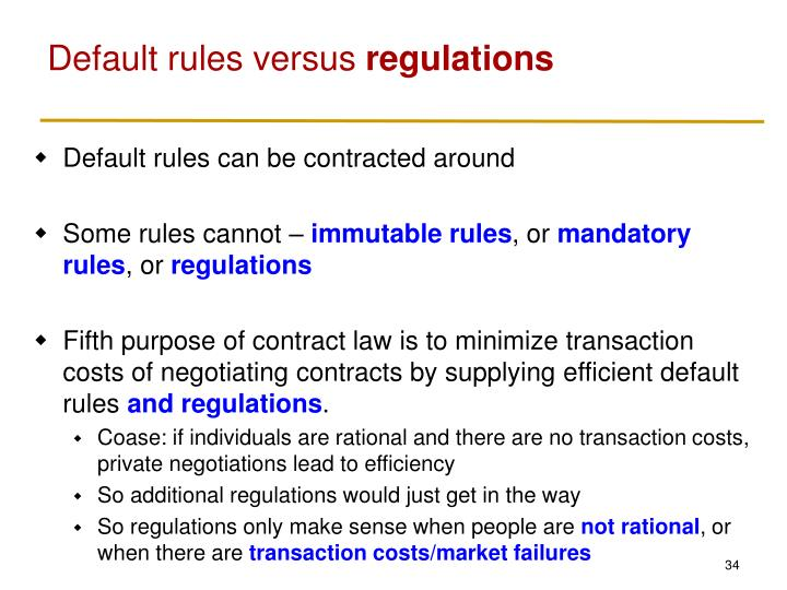 Default rules versus